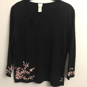 J Jill Sweater Top with beautiful embroidery